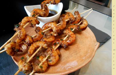 Brochettes de crevettes sautées façon thaï