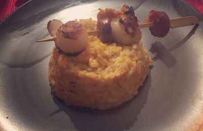 Risotto rouge, St Jacques et chorizo