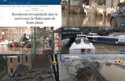 inondations et inquiétude dans le nord ouest de l'italie après de fortes pluies (videos medias fr)