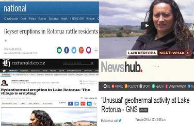 Éruption hydrothermale dans le lac Rotorua en Nouvelle-zélande,un tel geyser n' a jamais etait vu depuis 15 ans dans le lac (videos medias)