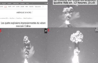 Les quatre explosions impressionnantes du volcan mexicain Colima, le volcan est entré en éruption quatre fois en 12 heures ce Jeudi (video media fr)