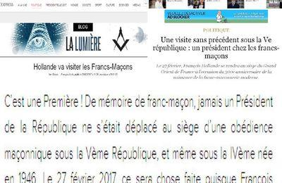 Une visite sans précédent sous la Ve république : un président chez les francs-maçons. Le 27 février, François Hollande se rendra au siège du Grand Orient de France à l'occasion du 300e anniversaire de la naissance de la franc-maçonnerie moderne.