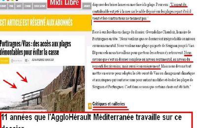 Portiragnes/Vias : des accès aux plages démontables pour éviter la casse, 11 années que l'aggloHérault Méditerrannée travaille en dépensant l'argents du contribuables et qui est jeté à la mer