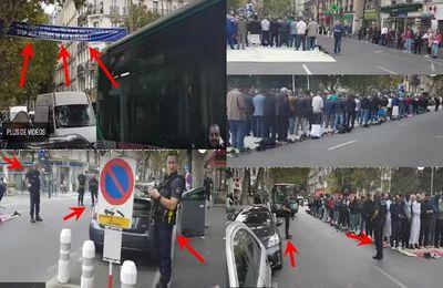 """France : prière de rue hallucinante à Clichy appelant à combattre collectivement tous les chrétiens en face de la mairie, génant la circulation et surtout protégée par la police alors que à quelques mètres une banderole indique """"stop au prière de rue illègale ! (videos fr)"""