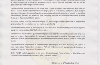 Gabon: l'UNDR suite au Tchad la crise post-électorale