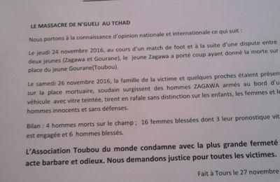 Drame de Nguéli: l'Association des Toubous du Monde condamne la barbarie (communiqué de presse)