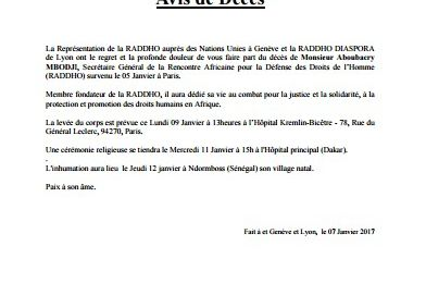 Communiqué de presse de la RADDHO Genève