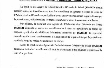 Tchad: le Syndicat des Agents de l'Administration Générale appelle les travailleurs(es) à la vigilance et au maintien de la mobilisation