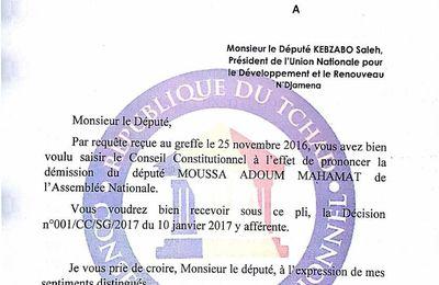 Lire la réponse de Nagoum, président du Conseil Constitutionnel à la requête du leader de l'UNDR, Saleh Kebzabo