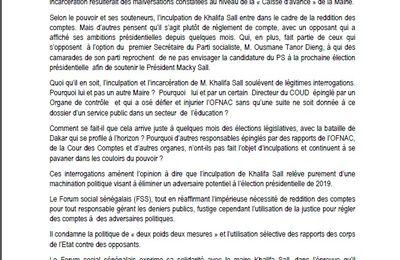 Affaire Khalifa Sall au Sénégal: le FSS solidaire au Maire de Dakar et condamne avec force toute tentative de museler  le peuple