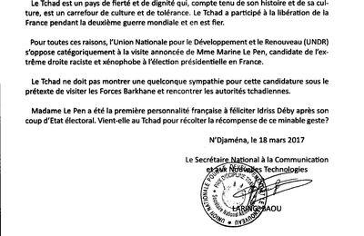 L'UNDR à son tour dénonce la visite de Mme Marine Le Pen au Tchad