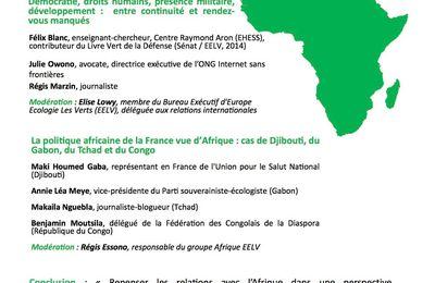 Lacommission Transnationale EELV vous inviteà unerencontre-débat sur la politique africaine de la France durant le quinquennat de François Hollande.