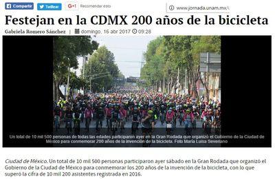 """Les Mexicains ont fêté les deux cents ans du vélo, de la """"bici"""""""