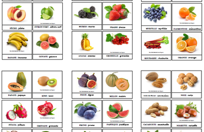 Cartes nomenclature à imprimer - Les fruits