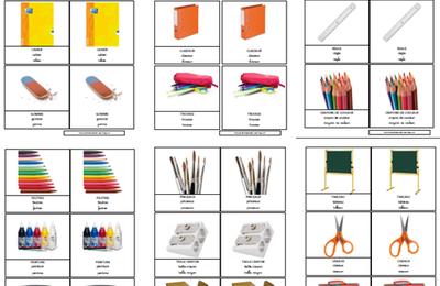 Cartes de nomenclature fournitures scolaire à imprimer PDF