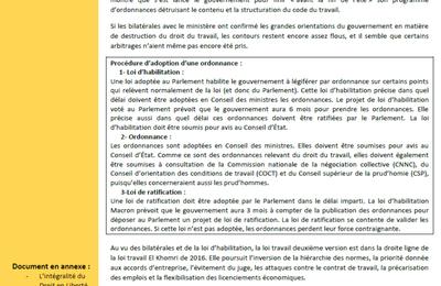 DROIT EN LIBERTE N°92 - Août 2017 - Actualité Ordonnances du travail Macron