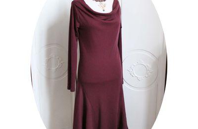 Robe mi-longue en jersey de laine prune, inspiration années 20