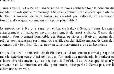 Voeux de monseigneur Chafik de l'Eglise Syro-Orthodoxe-Francophone   en France, à notre clergé