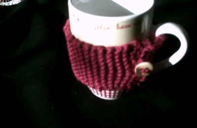 Tuto de 2 Caches mugs au point mousse. (tricot).