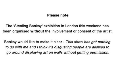 A note by Banksy on his website