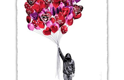 "Mr.Brainwash new print available ""Love is  the air"""