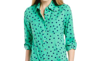 Foxcroft: Women's Casual Sketched Dot Printed Blouse