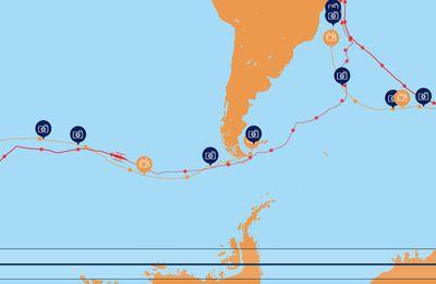 Cartographie 2D tentative record tour du monde en solitaire multicoque 2016 : Sodebo Thomas COVILLE #11