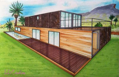 Simple shipping container house