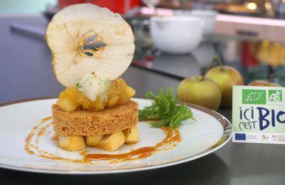 Réveillons Bio : Pommes coriandre, sablé breton, sorbet à la pomme en dessert