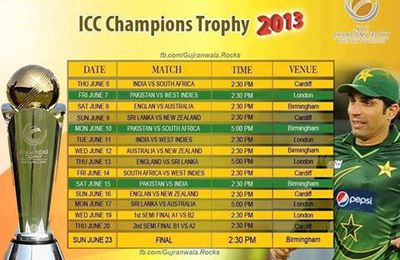 ICC Champions Trophy 2013 Shedule