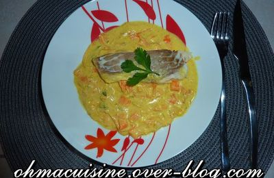 Poisson au four,sauce curry et légumes