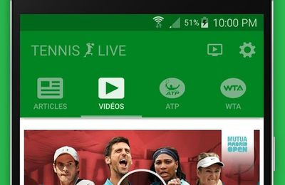 Appli mobile : Tennis Live sur Smartphone android