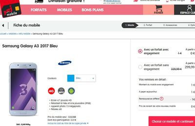 bon plan mobile 20 euros rembours s sur le smartphone samsung j3 le blog bon plan mobile. Black Bedroom Furniture Sets. Home Design Ideas