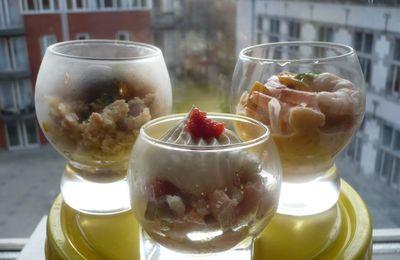 Verrines de poisson : thon, crevette, saumon