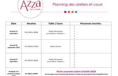 Planning des ateliers et cours septembre et octobre 2014