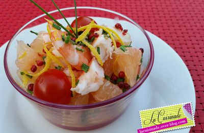 Salade d'Agrume aux Gambas et aux Baies Roses