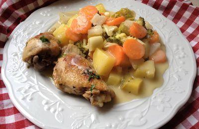 cuisses de poulet façon blanquette/au pot léger