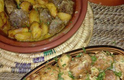 Tajine Marocain au boeuf et pommes de terres et chou-fleur