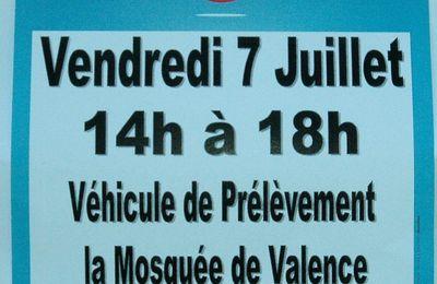 Don du sang à la mosquée de Valence.