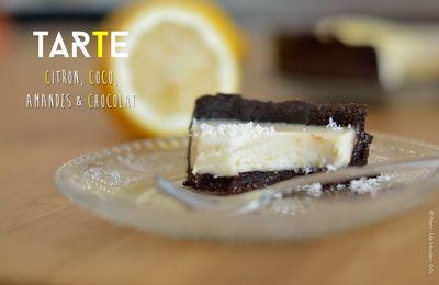 Tarte citron, coco, amandes, chocolat (sans cuisson)