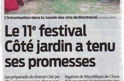 "Vu par la presse : Le Festival  Côté Jadin 2017 Nicole Cluzeau """