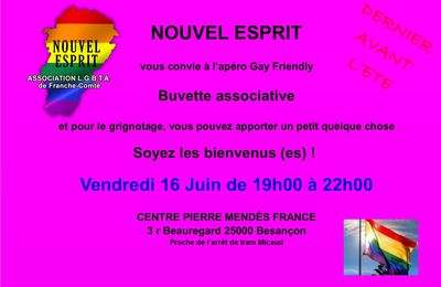 Apéro Gay-Friendly Vendredi 16 Juin
