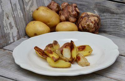 Topinambours et pommes de terre rôtis au four