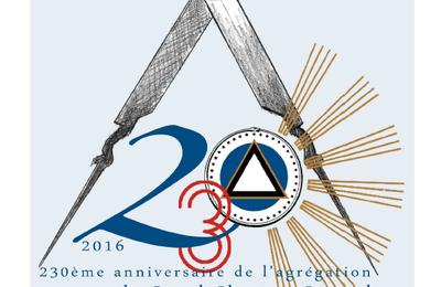1786 – 2016.  Le 230° anniversaire de l'agrégation du GCG au GODF…