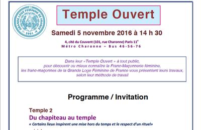 GLFF : Journée Temple ouvert le 5 novembre