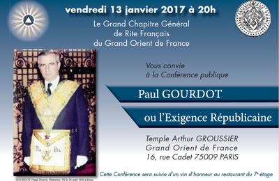 Hommage public à Paul Gourdot. GODF, 13 janvier