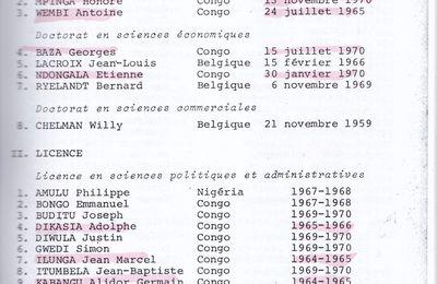 Le palmarès des diplômés en sciences politiques et administratives de Lovanium, de 1954 à 1970.