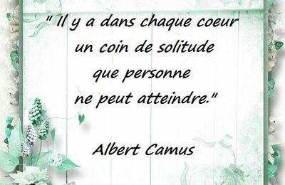 "Citation d'Albert Camus sur le ""coin de solitude"""