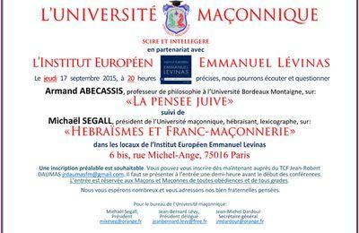 Judaïsme et Franc-Maçonnerie à l'Université Maçonnique le 17 septembre 2015 à Paris.
