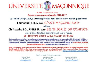 Christophe Bourseiller et Emmanuel Kreis : Antimaçonnisme et théories du complot. Conférences le 24 septembre 2016 à l'Université Maçonnique.